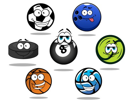 sporting: Cartooned funny sporting balls and puck for football or soccer, ice hockey, volleyball, basketball, bowling, tennis, billiard with shadows Illustration