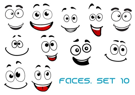 Happy and joyful emotions on cartoon smiling faces for humor caricature or comic design
