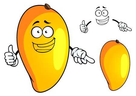 mango juice: Sunny yellow cartoon tropical mango fruit character with happy smiling face for food or juice pack design