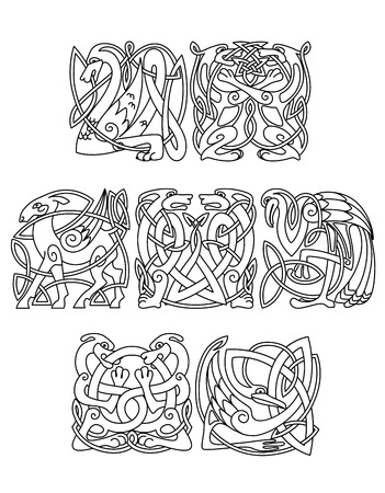 bird  celtic: Celtic mythological dragon, dogs, wolves, goat, heron, stork decorated traditional ethnic ornament for tattoo or mascot design Illustration