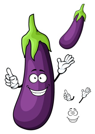 greengrocery: Glossy violet happy cartoon eggplant vegetable character with big green stalk for vegetarian menu or recipe book design Illustration