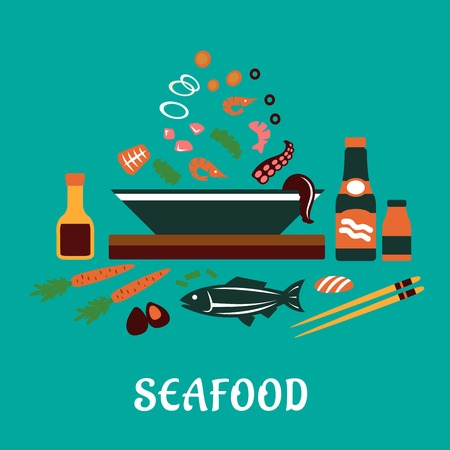 soy sauce: Seafood dish concept in flat style showing sauce bottles, chopsticks, whole fish and bowl with pieces of tuna, shrimps, mussels, olives and vegetables