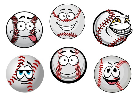 softball: Funny baseball balls cartoon characters with red stitching and smiling faces for sporting mascot design
