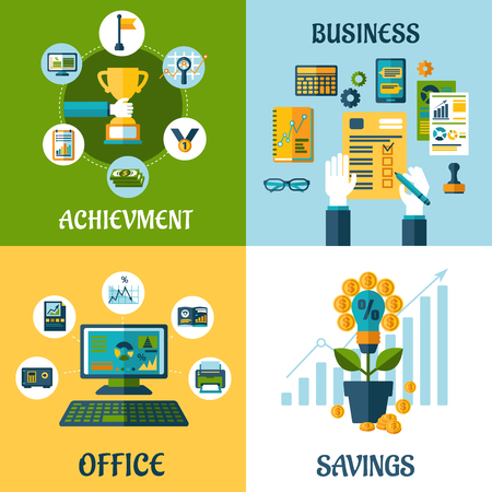 computer office: Business, office, achievement, savings flat concept with computer, office workplace, money flower and business success icons