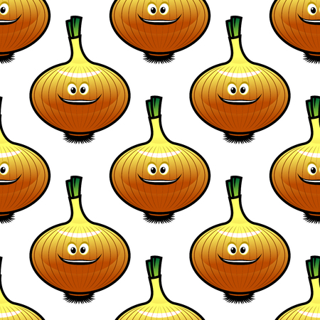 onion peel: Cartoon onion vegetable seamless pattern showing repeated motif of smiling bulbs with golden peel and little green sprouts for food pack or fabric design