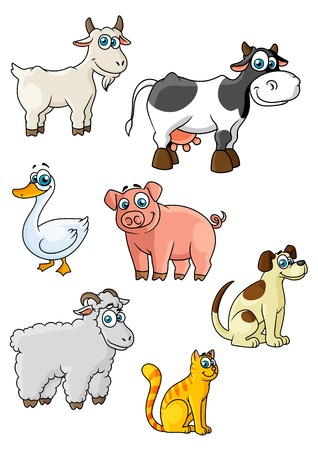 Funny cartoon farm animals and bird characters depicting cow, sheep, pig, dog, cat, goat, goose suited for childish decor or education concept design Illustration