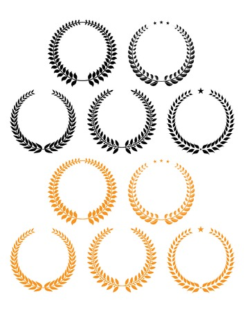 award winning: Black and orange laurel wreaths decorated stars and laurel seeds for anniversary celebration or sporting competition design