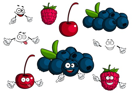 Cherry, raspberry, blueberries cartoon characters showing smiling luscious blue and red berries with green leaves and stalks for healthy dessert concept or food pack design