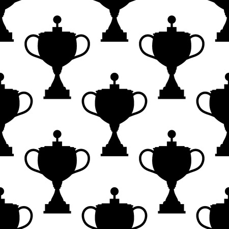 awarding: Seamless pattern of vintage trophy cup black silhouettes on white background for sporting competition or reward ceremony design Illustration