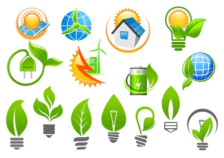 Abstract ecology icons depicting light bulbs with green leaves, sun and globe with renewable energy signs suited for saving environment or green energy concept design