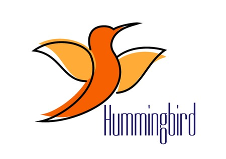 Orange hummingbird silhouette with outstretched wings isolated on white background for logo or emblem design Vector
