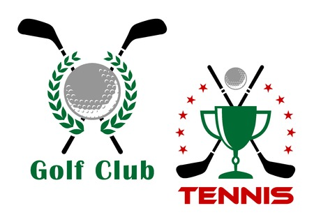Golf club heraldic logo or emblems depicting golf balls and trophy cup with crossed putters bordered laurel wreath and stars for competition or tournament design Vector