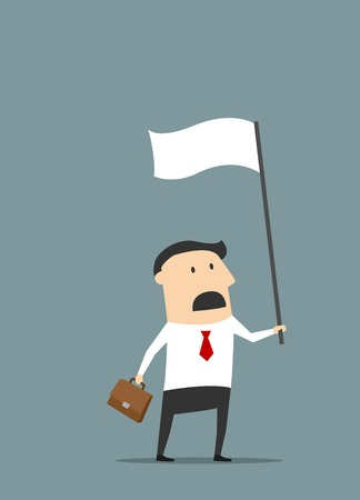 raise the white flag: Cartoon disappointed businessman with briefcase holding white flag of surrender and defeat for financial failure concept design