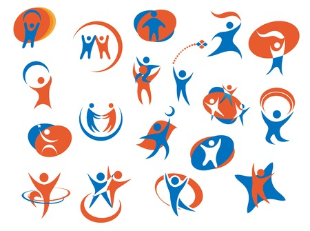 Abstract people silhouette icons or logo templates in blue and orange colors for business, sport or family concept design