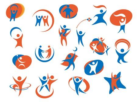 Abstracte mensen silhouet pictogrammen of logo templates in blauw en oranje kleuren voor het bedrijfsleven, sport of familie conceptontwerp