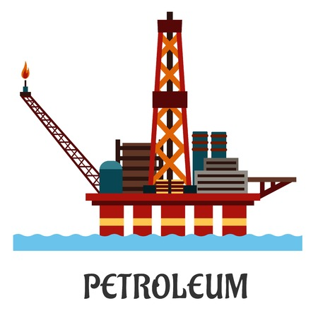 hull: Petroleum industry flat concept showing oil offshore platform on hull columns in the ocean with derrick, cranes and workshop Illustration