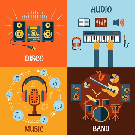 recording: Music, audio, disco, band flat icons with music instruments, microphone and headphone surrounded notes, recording studio equipment and stereo system with sound waves