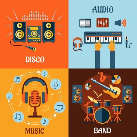 Muziek, audio, disco, band vlakke pictogrammen met muziek instrumenten, microfoon en hoofdtelefoon omgeven notities, opname studio-apparatuur en stereo-installatie met geluidsgolven