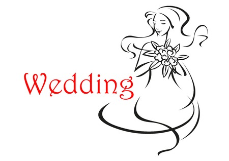 long curly hair: Wedding card template isolated on white background showing silhouette of young woman bride with long curly hair and flowers