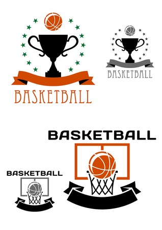 Basketball symbols or logo with balls one in basket and another above trophy cup encircled stars and ribbon banners for sporting competition design Vector