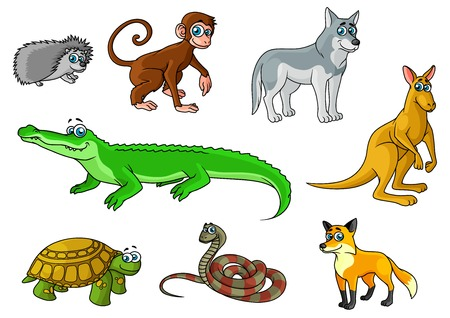 Cartoon forest and jungle animals characters with cute crocodile, fox, monkey, hedgehog, wolf, turtle, snake, kangaroo for childish decor and education design Vector