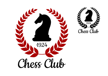 caballo negro: Chess Club logo o emblema con la silueta del negro del caballo figura bordeada corona de laurel con la fecha de fundaci�n en dos variaciones de colores