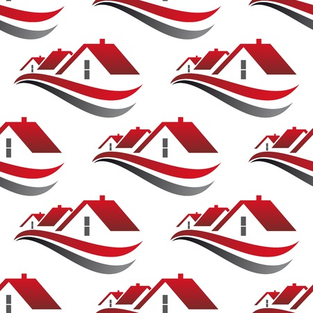 Abstract cityscape seamless pattern with red house roofs underlined curved lines isolated on white background suited for architecture or real estate concept design Vector