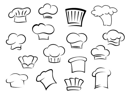 Chef hats icons with white professional uniform caps for kitchen staff in doodle sketch  style Illustration