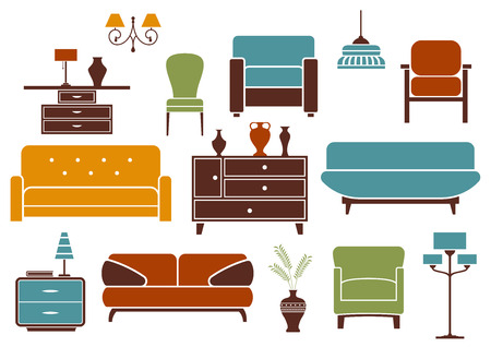 armchairs: Furniture and home interior design elements including modern sofas with pillows, comfortable armchairs, vintage chair, cabinet with vases, nightstand with lamps, floor lamp and chandeliers