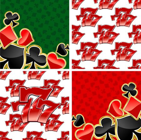 triple: Jackpot seamless patterns and casino playing card suits backgrounds with repeated glossy red triple seven 777 on white and shining spades, diamond, hearts, clubs on red and green