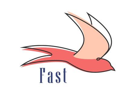 golondrinas: Trague abstracto silueta muestra de vuelo de aves en colores rosas aislados sobre fondo blanco con el subtítulo rápida