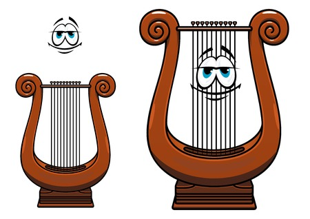 corpus: Smiling lyre cartoon character depicting ancient greek strings musical instrument with wooden brown corpus suited for music education or classic orchestra design