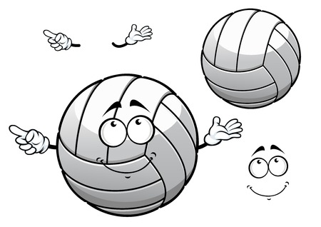 volley ball: White leather volleyball ball cartoon character with funny face for sporting or team mascot design
