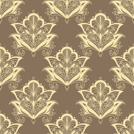 contoured: Vintage seamless paisley floral pattern with dainty beige contoured persian flowers on light brown background for wallpaper or textile design Illustration