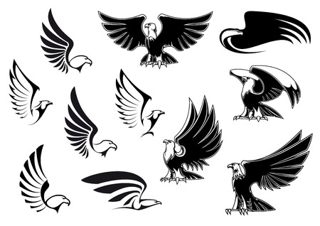 eagle feather: Eagle silhouettes showing flying and standing birds with outstretched wings in outline sketch style for logo, tattoo or heraldic design Illustration