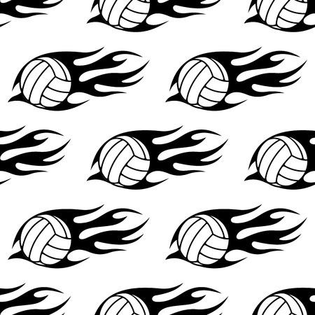 volleyball serve: Bal�n de voleibol con llamas tribales patr�n transparente en colores blanco y negro para la competici�n deportiva o dise�o partido Vectores