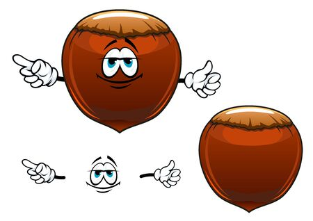 filberts: Dried hazelnut fruit cartoon character showing smiling brown nut with strong shell for vegetarian or healthy nutrition concept design
