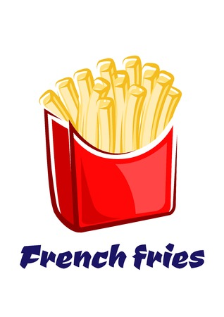 French fries in paper red box with classic oblong shaped yellow crispy pieces of potatoes isolated on white background for take away or fast food cafe design
