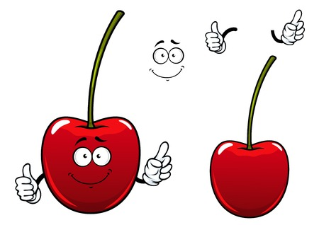 Happy cherry fruit cartoon character showing fresh glossy red berry with long green stalk and thumb up gesture suited for food pack design Illustration
