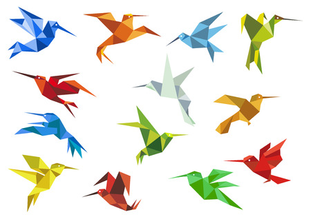 bird of paradise: Origami paper hummingbirds design elements with flying colorful abstract colibri for logo or emblem