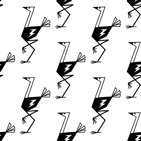 page long: Outline sketch ostriches black and white seamless pattern background showing funny birds with long neck and legs suited for textile or page fill design