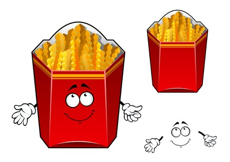 French fries cartoon character with smiling paper red box filled wavy crunchy slices of fried potato for food pack or fast food cafe design Vector