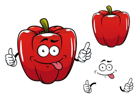 natural face: Red glossy bell pepper vegetable cartoon character with funny smiling face isolated on white background for healthy nutrition or vegetarian concept design