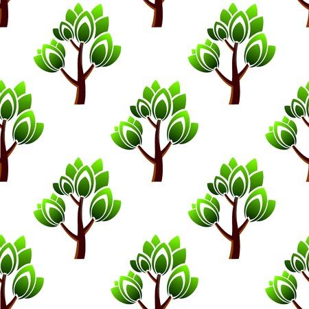 arboles frondosos: Modelo inconsútil del bosque mostrando repetir motivo de árboles con ramas de hojas verdes sobre fondo blanco para el papel pintado o la tela de diseño