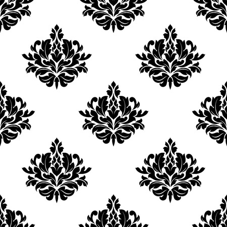 victorian wallpaper: Vintage victorian styled foliate seamless pattern with black leaves scrolls compositions on white background for textile or wallpaper design Illustration