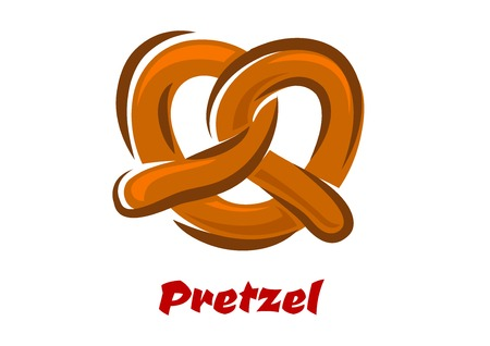 crusty: Traditional bavarian twisted fresh pretzel in cartoon style isolated on white background with red caption Pretzel for bakery design Illustration