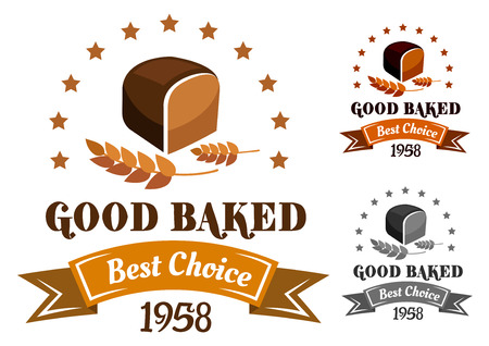 rye bread: Rye bread banner or label with brown bread, ears and text for bakery design