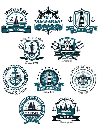 Marine emblems and banners with helm, rope, yacht, lighthouse, trident, anchor and ships