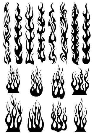 Black tribal fire flames set for tattoo, vinyl stickers and decoration design