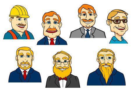 expresion corporal: Diferentes hombres de dibujos animados como constructor, médico, hombres de negocios y ancianos con barba Vectores